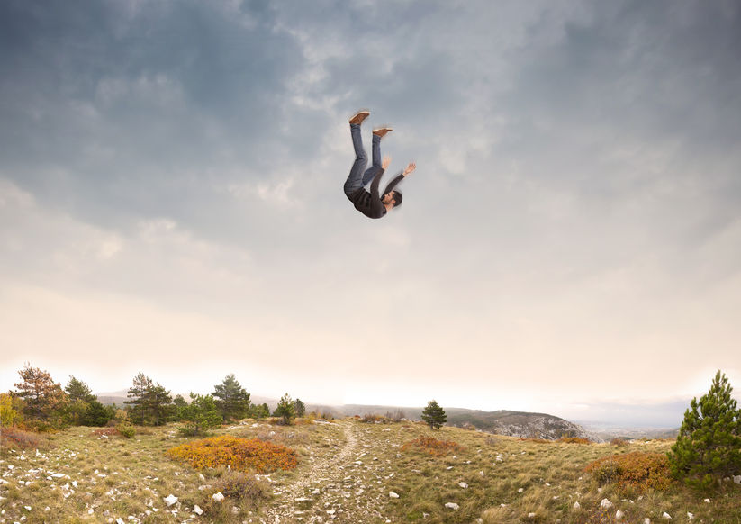 man falling from sky