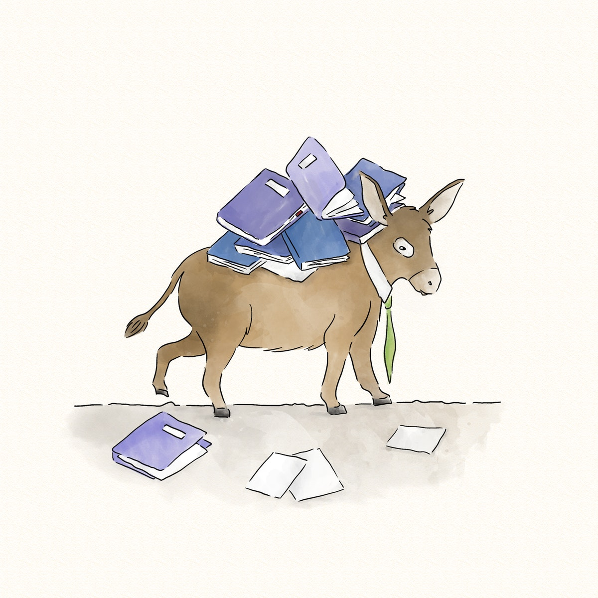 donkey carrying a load of books