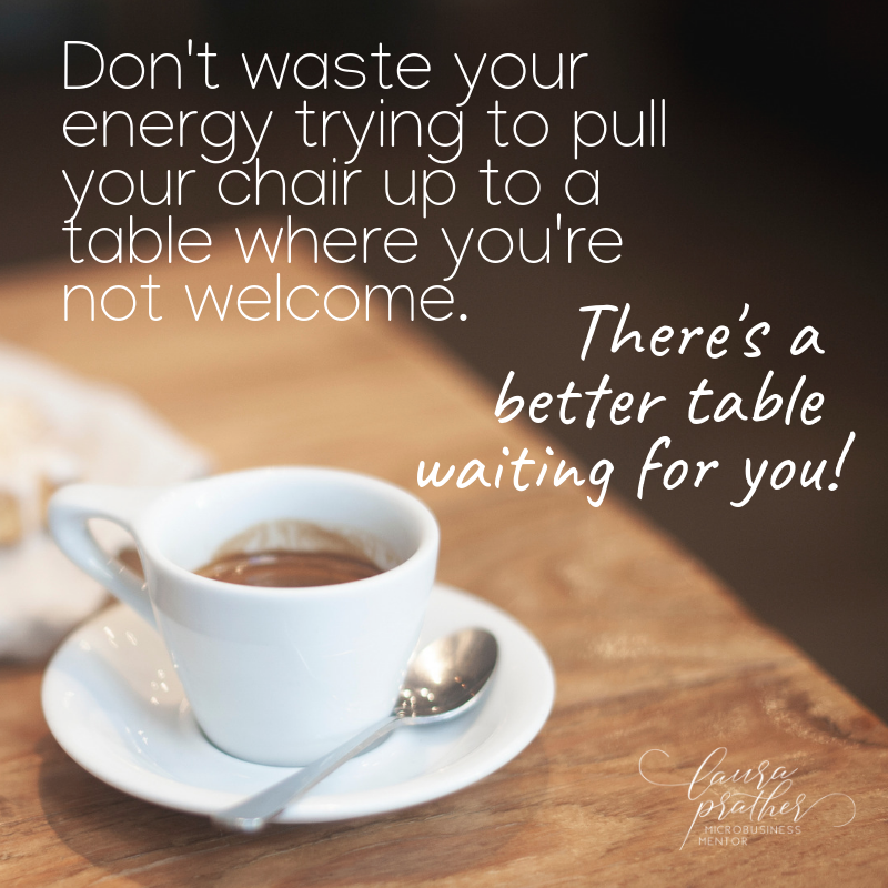 quote over an image of a table with a coffee cup